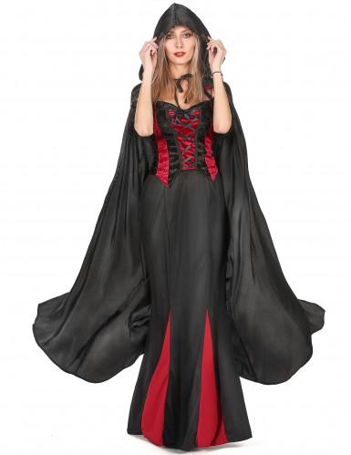 Sort vampyrkappe Halloween voksen