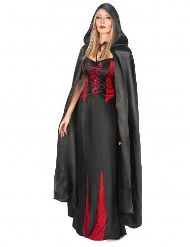 Sort vampyrkappe Halloween voksen-1