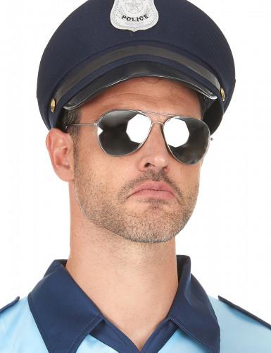 Sorte pilotbriller med sølvfarvet stel-2