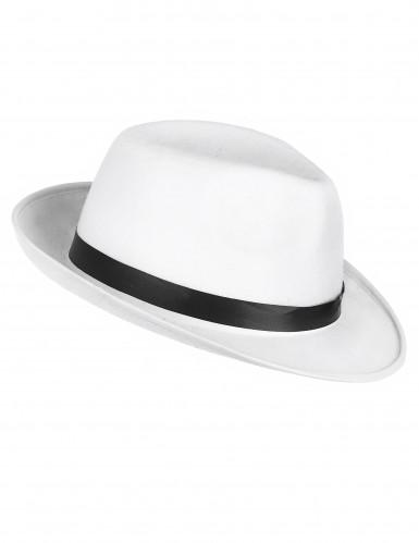 Hvid gangsterhat med sort bånd til voskne
