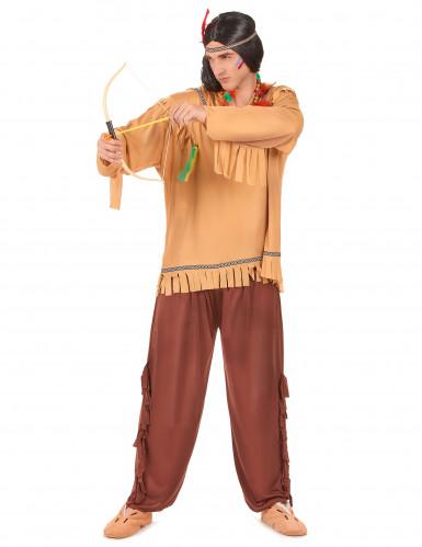 Den vilde indianer - Brunt indianerkostume til voksne-1