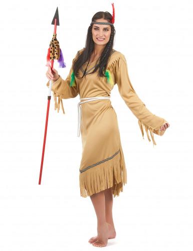Den lyse indianer - Beige indianerkostume til kvinder-1
