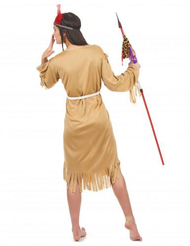 Den lyse indianer - Beige indianerkostume til kvinder-2
