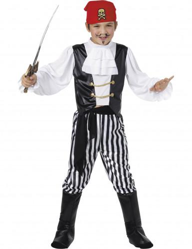 Piratkostume I sort og hvid til drenge