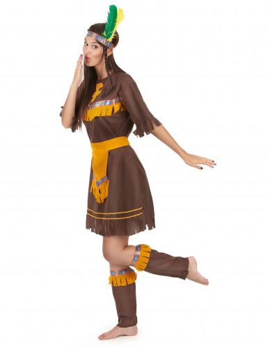 Brun og orange indianerkjole til kvinder-1
