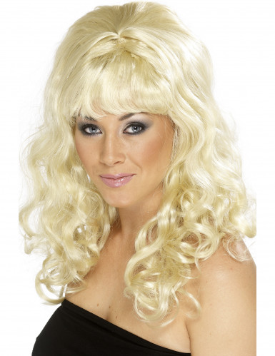 Blond paryk med krøller og pandehår til kvinder