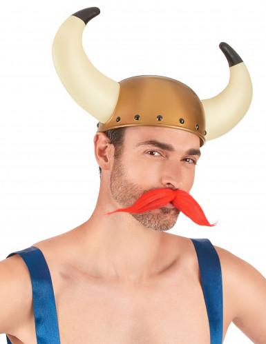 Vikingehjelm i guld med horn -1