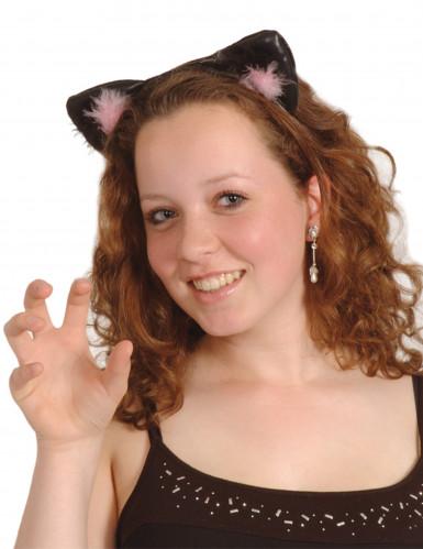 Sorte og Lyserøde Katteører