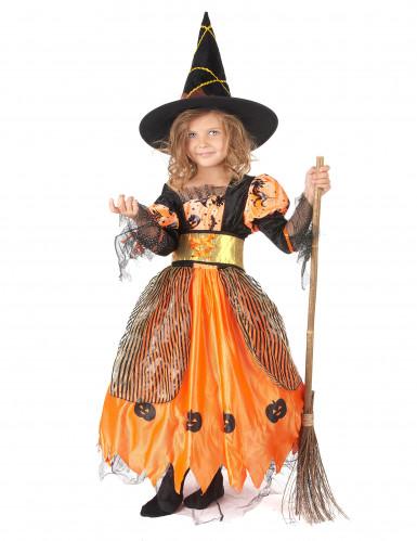 Orange Haloween heksekostume med græskar til piger