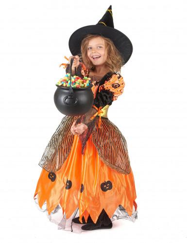Orange Haloween heksekostume med græskar til piger -1