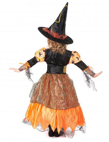 Orange Haloween heksekostume med græskar til piger -2