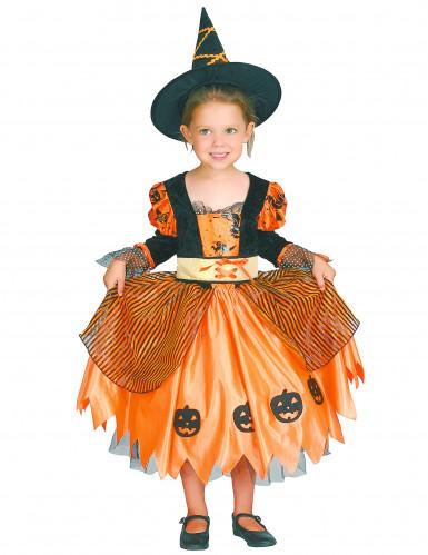 Orange Haloween heksekostume med græskar til piger -3