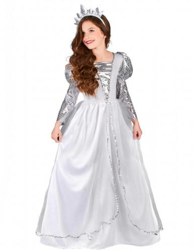 Sølvhvid prinsesse - udklædning til børn