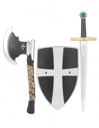 Skjold sværd og økse i plastik middelalderridder barn