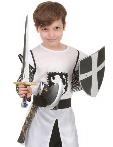 Skjold sværd og økse i plastik middelalderridder barn-1