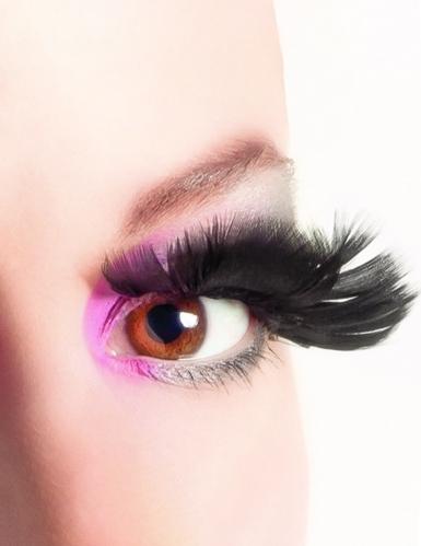 Falske øjenvipper med sorte fjer Voksne