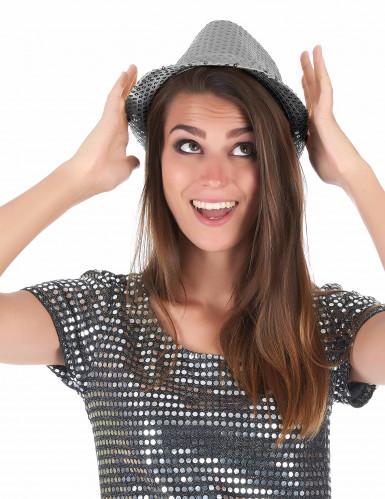 Hat i italiensk stil med sølvpailletter Voksne-2