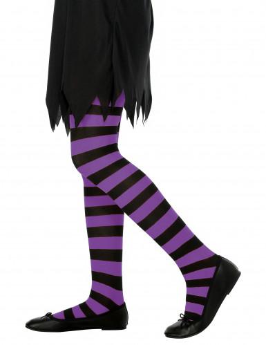 Strømpebukser i striber sort og lilla til piger