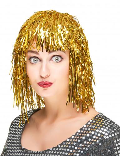 Paryk med guldfarvet glitter