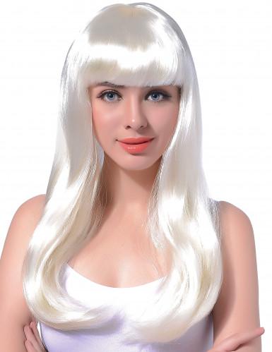 Paryk langt hår hvid