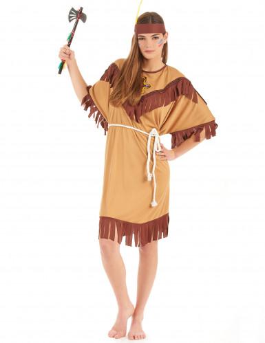 Tofarvet indianerkostume kvinde