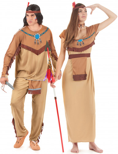 Beige indianer parkostume til voksne