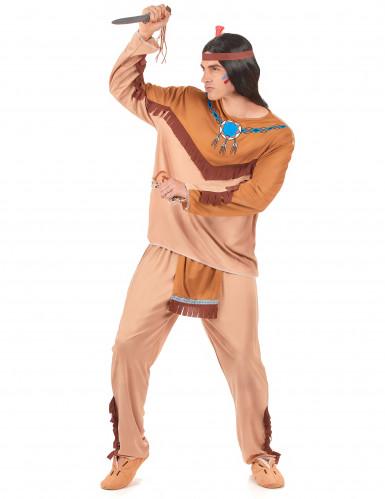 Beige indianer parkostume til voksne -1