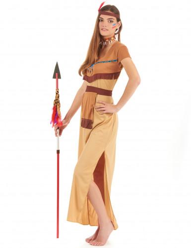 Beige indianer parkostume til voksne -2