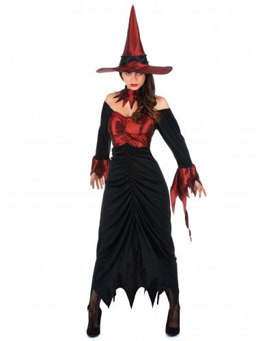 Sort og rød Halloween heksekostume til kvinder