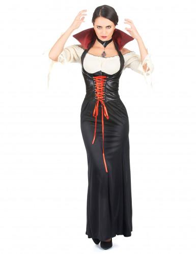 Sort læderlook vampyrkjole til kvinder