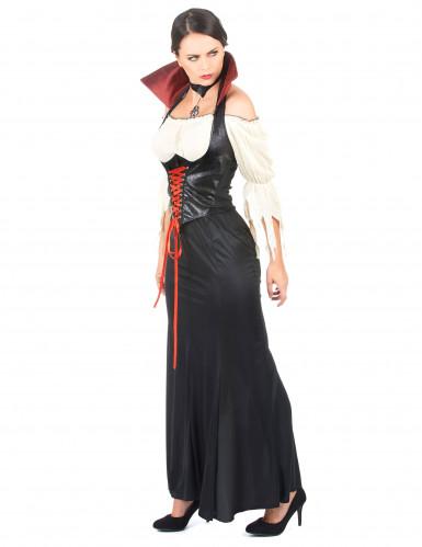 Sort læderlook vampyrkjole til kvinder-1