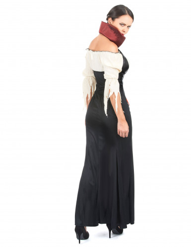 Sort læderlook vampyrkjole til kvinder-2