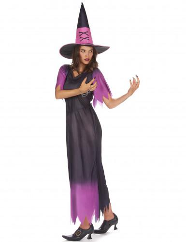 Lilla og sort heksekostume til kvinder-1