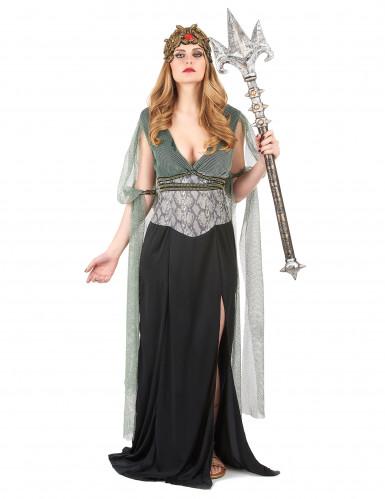 Elegant kvindelig vampyr gotisk  kostume til kvinder sort-rød