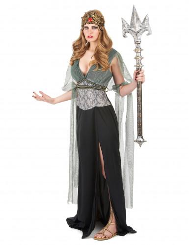 Elegant kvindelig vampyr gotisk  kostume til kvinder sort-rød-1