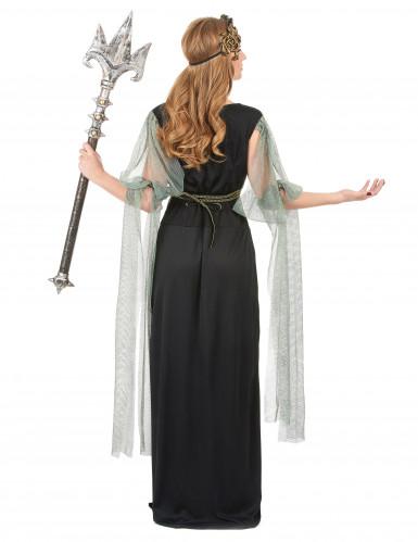 Elegant kvindelig vampyr gotisk  kostume til kvinder sort-rød-2