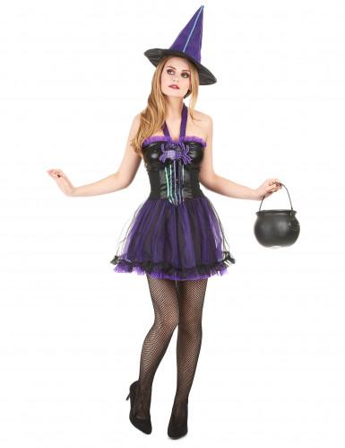 Lilla heksekostume Kvinde Halloween
