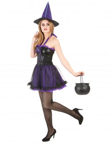Lilla heksekostume Kvinde Halloween-1