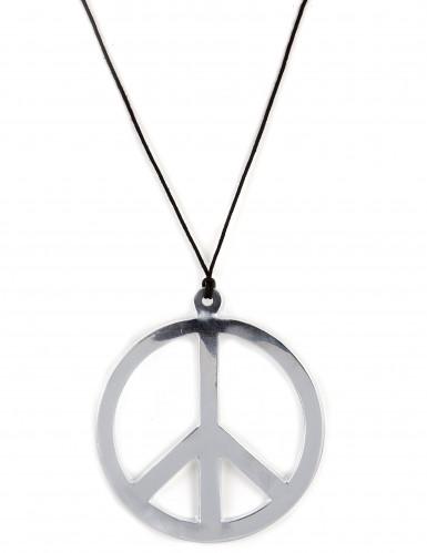 Halskæde hippie sølvfarvet enormt
