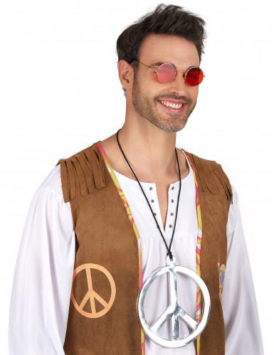 Halskæde hippie sølvfarvet enormt-1