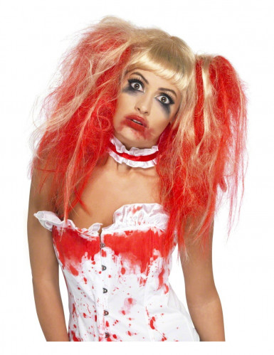 Blond paryk blodig Halloween kvinde
