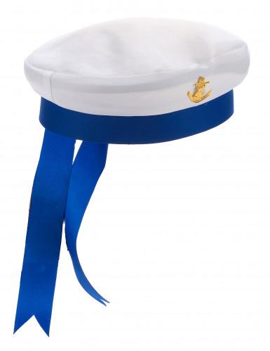 Elegant hvid og blå marinehat til voksne