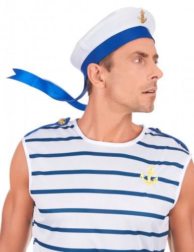 Elegant hvid og blå marinehat til voksne -2