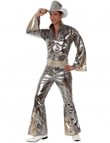 Sølv disko cowboykostume til mænd
