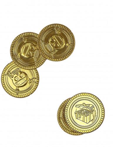 30 guldfarvede pengemønter med dødningehoveder