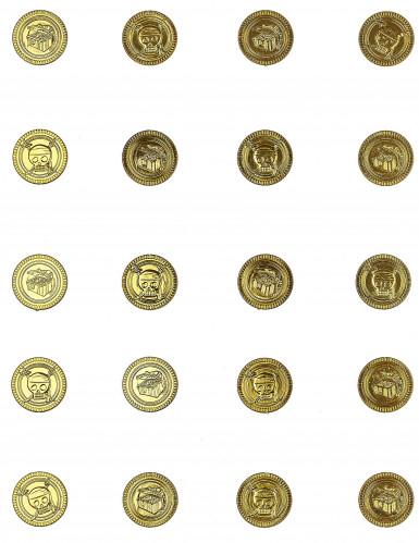 30 guldfarvede pengemønter med dødningehoveder-1