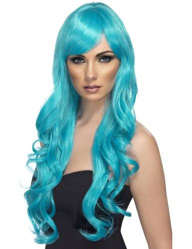 Paryk blå-turkis lang bølget til kvinder