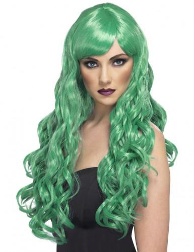 Grøn lang bølget paryk dame