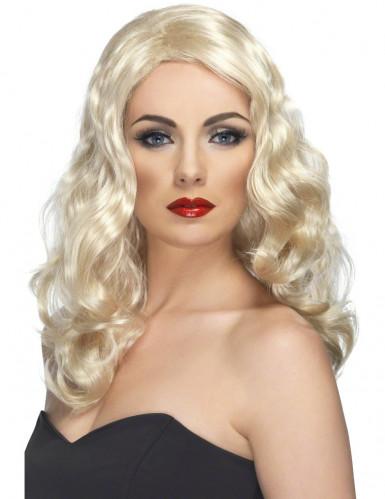 Halvlang blond bølget paryk til kvinder