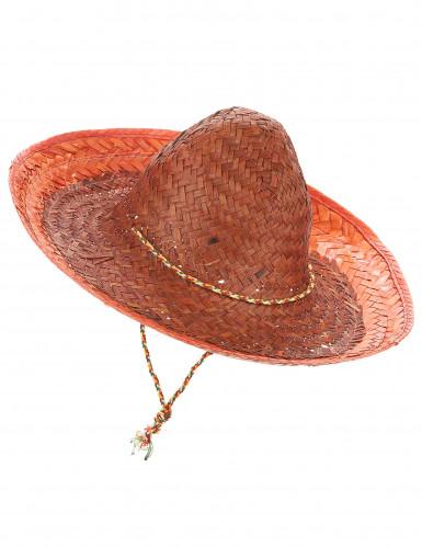 Orangefarvet mexicansk sombrero til voksne